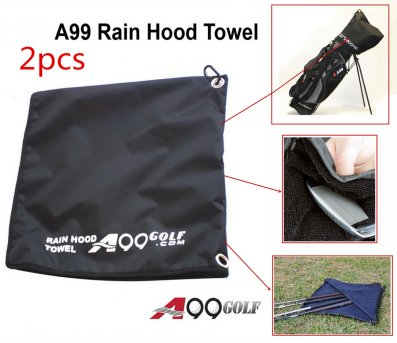 A99 Golf Rain Hood Towel Waterproof Golf Bag Cover Black 2 pcs