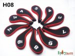 10pcs/set H08 Spicybuys Golf Iron Headcovers Black/Red